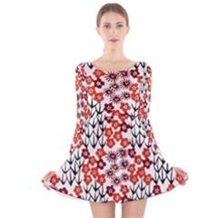 Simple Japanese Patterns Long Sleeve Velvet Skater Dress