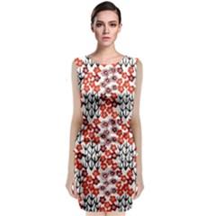 Simple Japanese Patterns Sleeveless Velvet Midi Dress