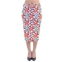 Simple Japanese Patterns Velvet Midi Pencil Skirt
