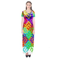 3d Fsm Tessellation Pattern Short Sleeve Maxi Dress