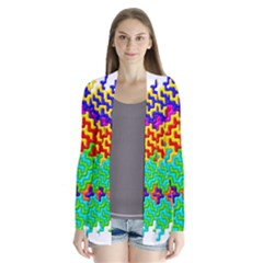 3d Fsm Tessellation Pattern Drape Collar Cardigan