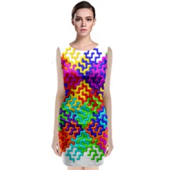 3d Fsm Tessellation Pattern Sleeveless Velvet Midi Dress