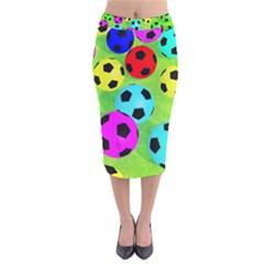 Balls Colors Velvet Midi Pencil Skirt