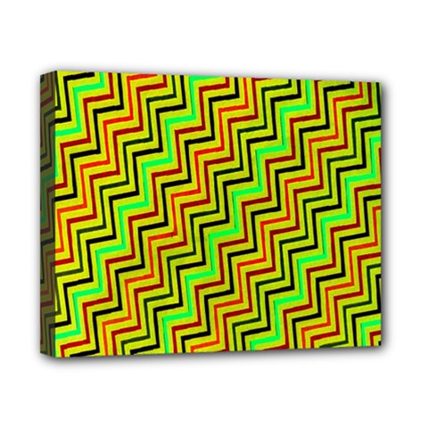 Green Red Brown Zig Zag Background Canvas 10  X 8