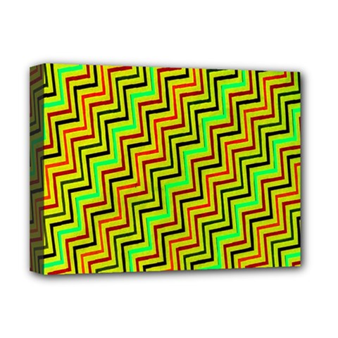 Green Red Brown Zig Zag Background Deluxe Canvas 16  x 12