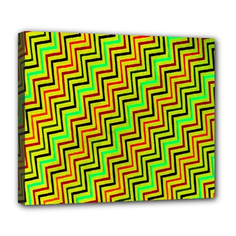 Green Red Brown Zig Zag Background Deluxe Canvas 24  x 20