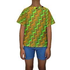 Green Red Brown Zig Zag Background Kids  Short Sleeve Swimwear