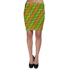 Green Red Brown Zig Zag Background Bodycon Skirt