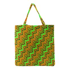 Green Red Brown Zig Zag Background Grocery Tote Bag