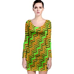 Green Red Brown Zig Zag Background Long Sleeve Bodycon Dress