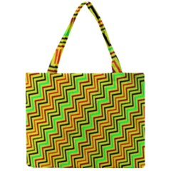Green Red Brown Zig Zag Background Mini Tote Bag