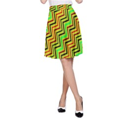 Green Red Brown Zig Zag Background A Line Skirt