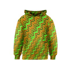 Green Red Brown Zig Zag Background Kids  Pullover Hoodie
