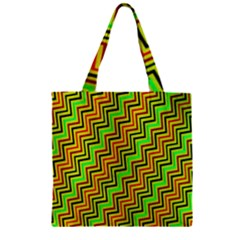 Green Red Brown Zig Zag Background Zipper Grocery Tote Bag