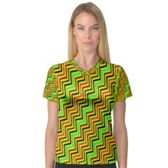 Green Red Brown Zig Zag Background Women s V Neck Sport Mesh Tee