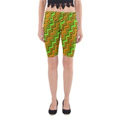 Green Red Brown Zig Zag Background Yoga Cropped Leggings