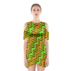 Green Red Brown Zig Zag Background Shoulder Cutout One Piece