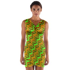 Green Red Brown Zig Zag Background Wrap Front Bodycon Dress
