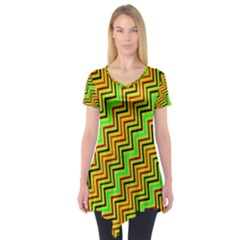 Green Red Brown Zig Zag Background Short Sleeve Tunic