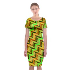 Green Red Brown Zig Zag Background Classic Short Sleeve Midi Dress