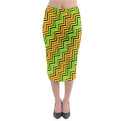 Green Red Brown Zig Zag Background Midi Pencil Skirt