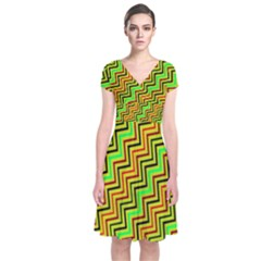 Green Red Brown Zig Zag Background Short Sleeve Front Wrap Dress