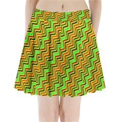 Green Red Brown Zig Zag Background Pleated Mini Skirt