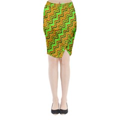 Green Red Brown Zig Zag Background Midi Wrap Pencil Skirt