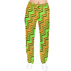 Green Red Brown Zig Zag Background Drawstring Pants