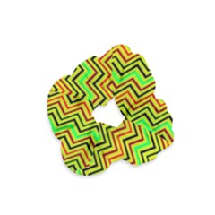 Green Red Brown Zig Zag Background Velvet Scrunchie