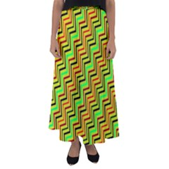 Green Red Brown Zig Zag Background Flared Maxi Skirt