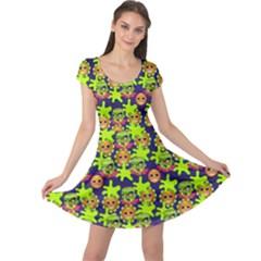 Smiley Monster Cap Sleeve Dresses