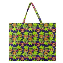 Smiley Monster Zipper Large Tote Bag