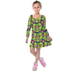 Smiley Monster Kids  Long Sleeve Velvet Dress