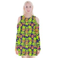 Smiley Monster Velvet Long Sleeve Shoulder Cutout Dress