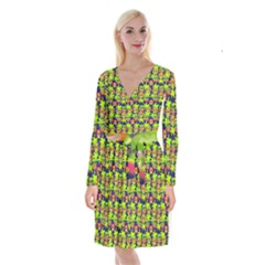 Smiley Monster Long Sleeve Velvet Front Wrap Dress