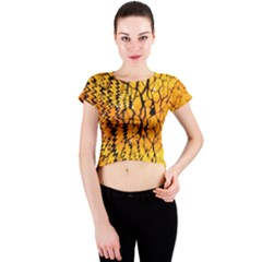 Yellow Chevron Zigzag Pattern Crew Neck Crop Top
