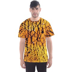 Yellow Chevron Zigzag Pattern Men s Sports Mesh Tee