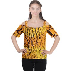 Yellow Chevron Zigzag Pattern Women s Cutout Shoulder Tee