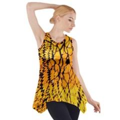 Yellow Chevron Zigzag Pattern Side Drop Tank Tunic