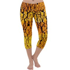 Yellow Chevron Zigzag Pattern Capri Yoga Leggings
