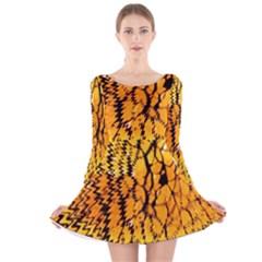 Yellow Chevron Zigzag Pattern Long Sleeve Velvet Skater Dress