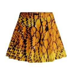Yellow Chevron Zigzag Pattern Mini Flare Skirt