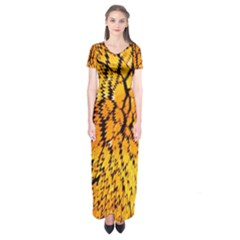 Yellow Chevron Zigzag Pattern Short Sleeve Maxi Dress
