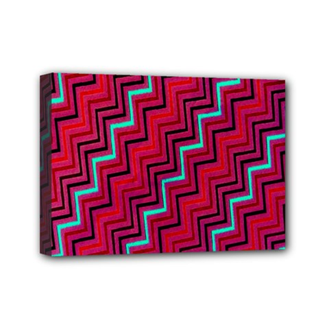 Red Turquoise Black Zig Zag Background Mini Canvas 7  X 5