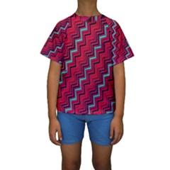 Red Turquoise Black Zig Zag Background Kids  Short Sleeve Swimwear