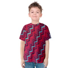 Red Turquoise Black Zig Zag Background Kids  Cotton Tee