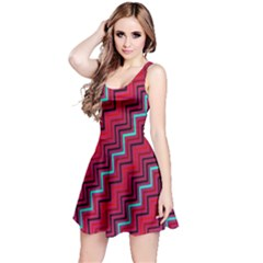 Red Turquoise Black Zig Zag Background Reversible Sleeveless Dress