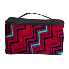 Red Turquoise Black Zig Zag Background Cosmetic Storage Case