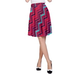Red Turquoise Black Zig Zag Background A-Line Skirt